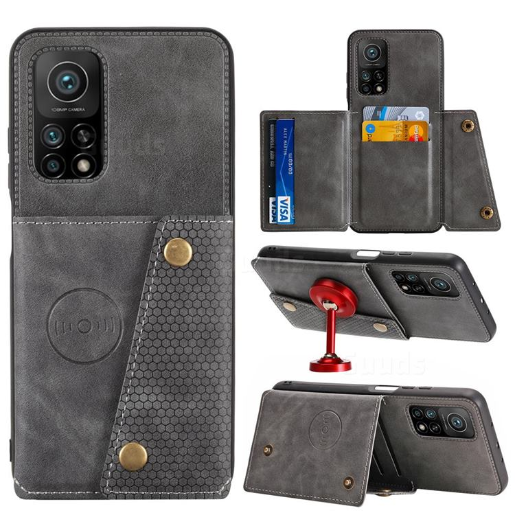 Retro Multifunction Card Slots Stand Leather Coated Phone Back Cover for Xiaomi Mi 10T / 10T Pro 5G - Gray