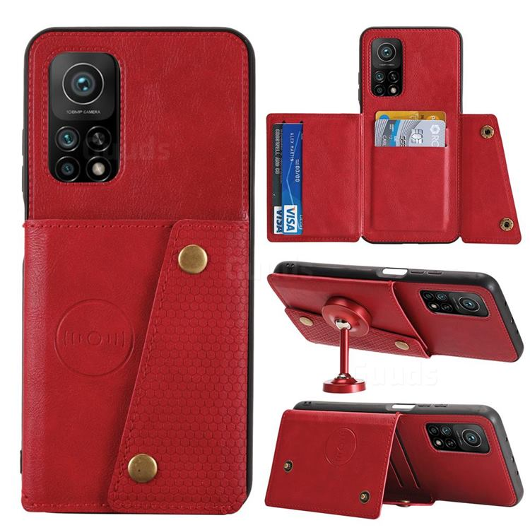 Retro Multifunction Card Slots Stand Leather Coated Phone Back Cover for Xiaomi Mi 10T / 10T Pro 5G - Red