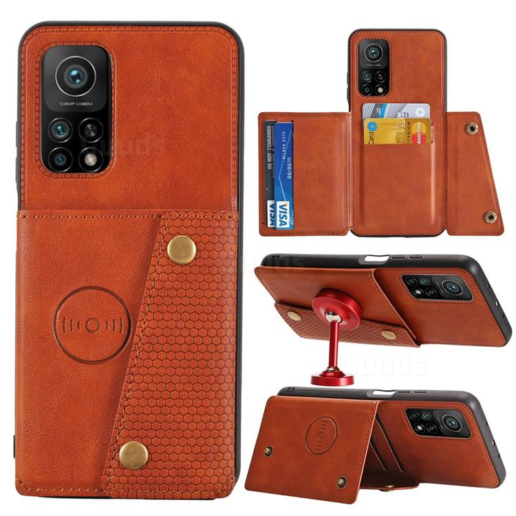 Retro Multifunction Card Slots Stand Leather Coated Phone Back Cover for Xiaomi Mi 10T / 10T Pro 5G - Brown