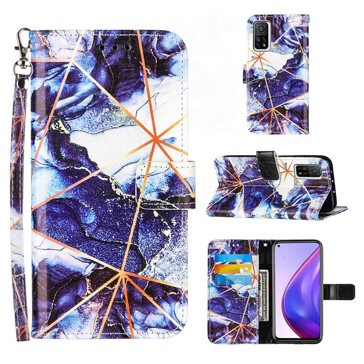 Starry Blue Stitching Color Marble Leather Wallet Case for Xiaomi Mi 10T / 10T Pro 5G