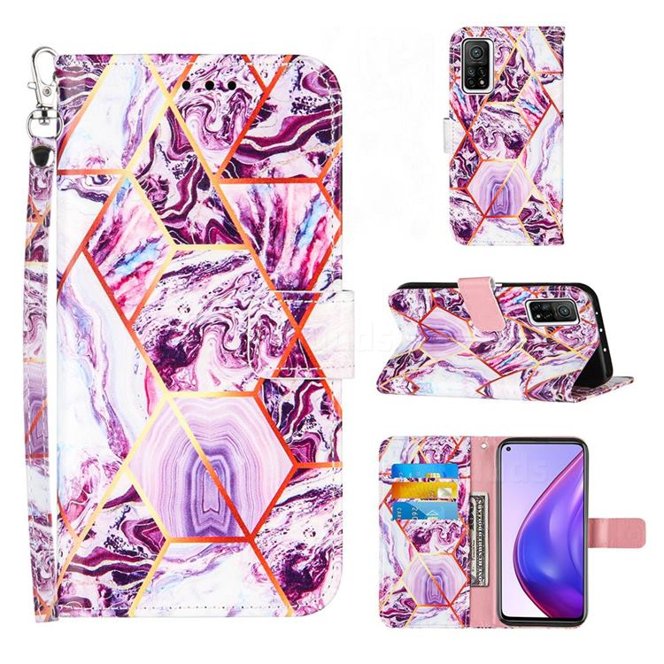 Dream Purple Stitching Color Marble Leather Wallet Case for Xiaomi Mi 10T / 10T Pro 5G