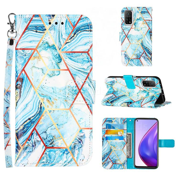 Lake Blue Stitching Color Marble Leather Wallet Case for Xiaomi Mi 10T / 10T Pro 5G