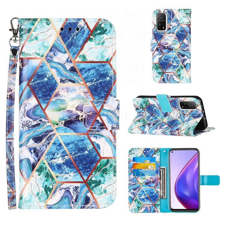 Green and Blue Stitching Color Marble Leather Wallet Case for Xiaomi Mi 10T / 10T Pro 5G