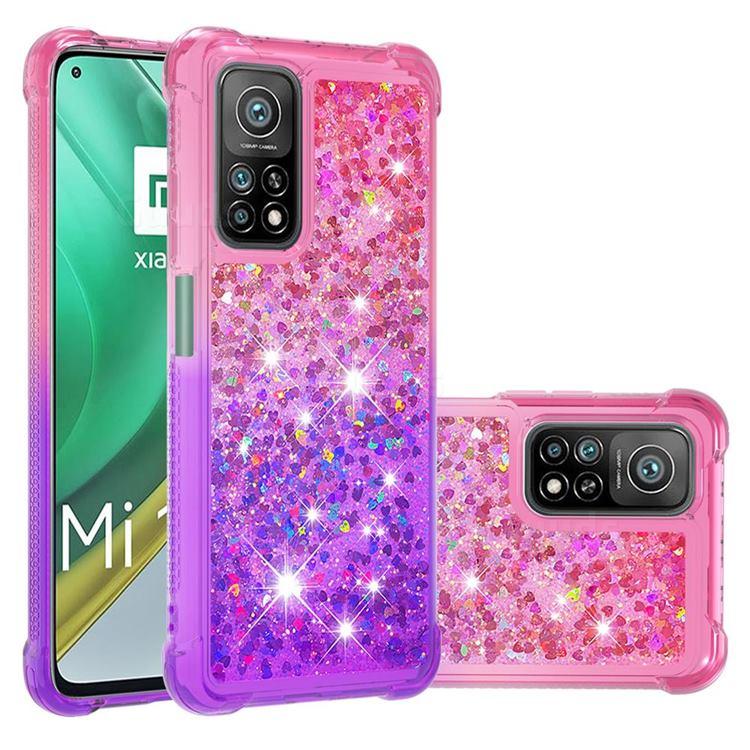 Rainbow Gradient Liquid Glitter Quicksand Sequins Phone Case for Xiaomi Mi 10T / 10T Pro 5G - Pink Purple