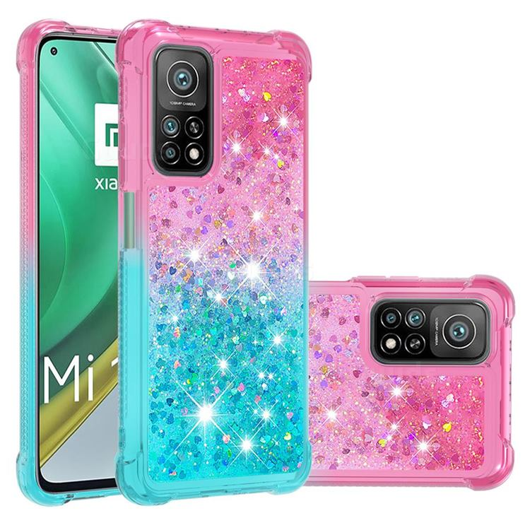Rainbow Gradient Liquid Glitter Quicksand Sequins Phone Case for Xiaomi Mi 10T / 10T Pro 5G - Pink Blue