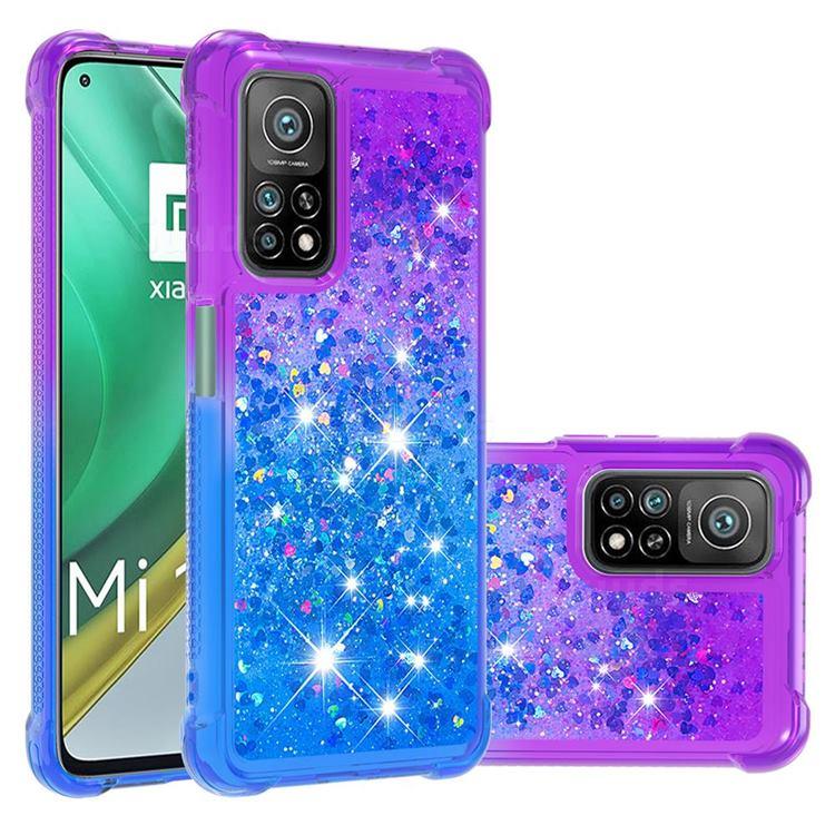 Rainbow Gradient Liquid Glitter Quicksand Sequins Phone Case for Xiaomi Mi 10T / 10T Pro 5G - Purple Blue