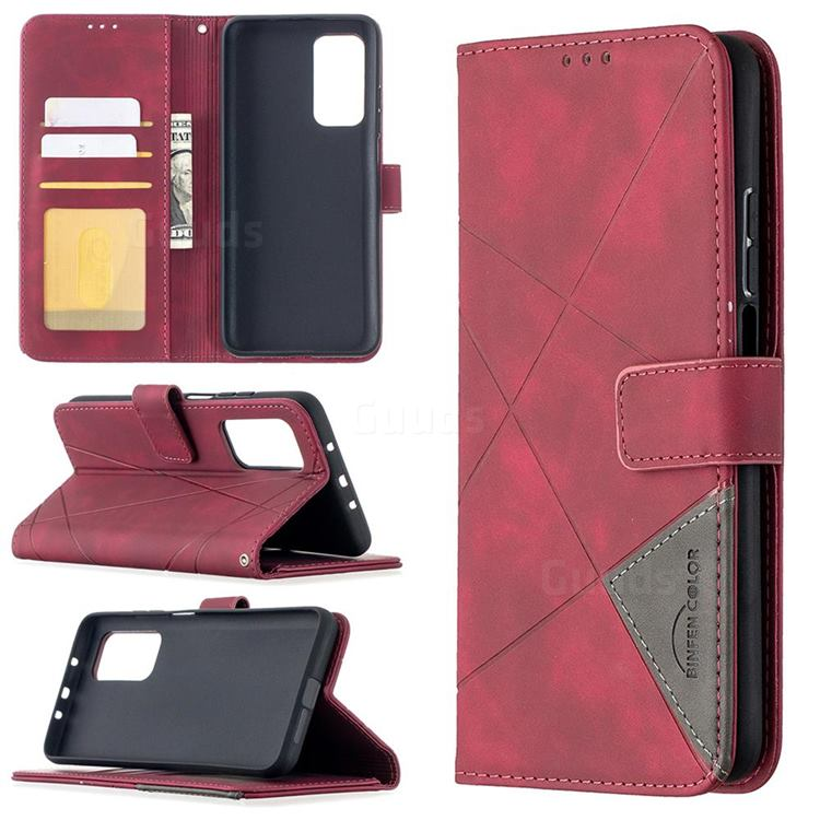 Binfen Color BF05 Prismatic Slim Wallet Flip Cover for Xiaomi Mi 10T / 10T Pro 5G - Red