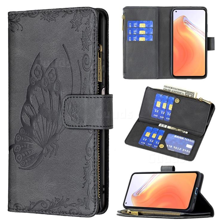 Binfen Color Imprint Vivid Butterfly Buckle Zipper Multi-function Leather Phone Wallet for Xiaomi Mi 10T / 10T Pro 5G - Black
