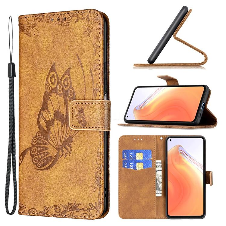 Binfen Color Imprint Vivid Butterfly Leather Wallet Case for Xiaomi Mi 10T / 10T Pro 5G - Brown
