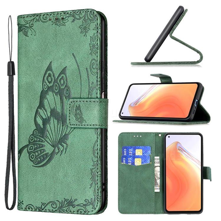 Binfen Color Imprint Vivid Butterfly Leather Wallet Case for Xiaomi Mi 10T / 10T Pro 5G - Green