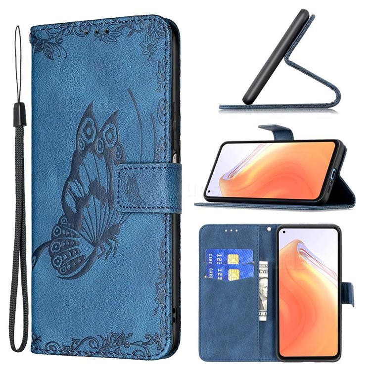 Binfen Color Imprint Vivid Butterfly Leather Wallet Case for Xiaomi Mi 10T / 10T Pro 5G - Blue