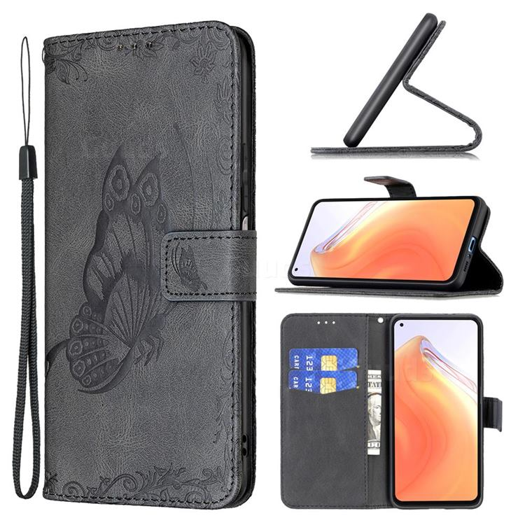 Binfen Color Imprint Vivid Butterfly Leather Wallet Case for Xiaomi Mi 10T / 10T Pro 5G - Black