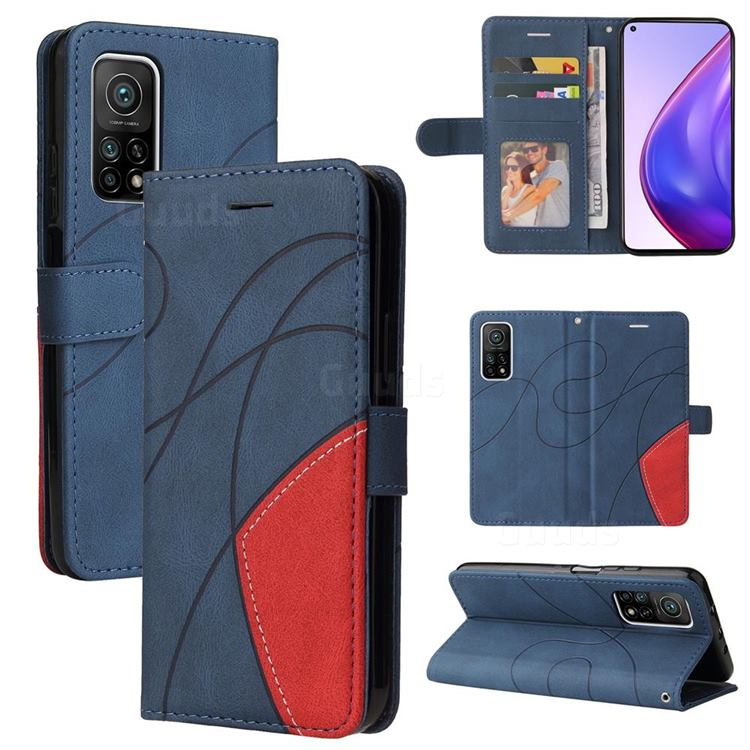 Luxury Two-color Stitching Leather Wallet Case Cover for Xiaomi Mi 10T / 10T Pro 5G - Blue