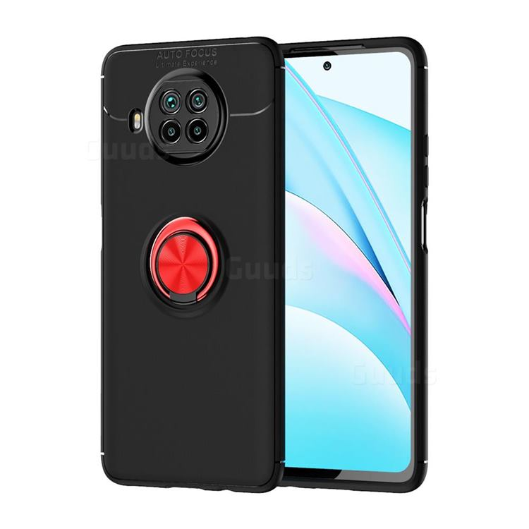 Auto Focus Invisible Ring Holder Soft Phone Case for Xiaomi Mi 10T Lite 5G - Black Red