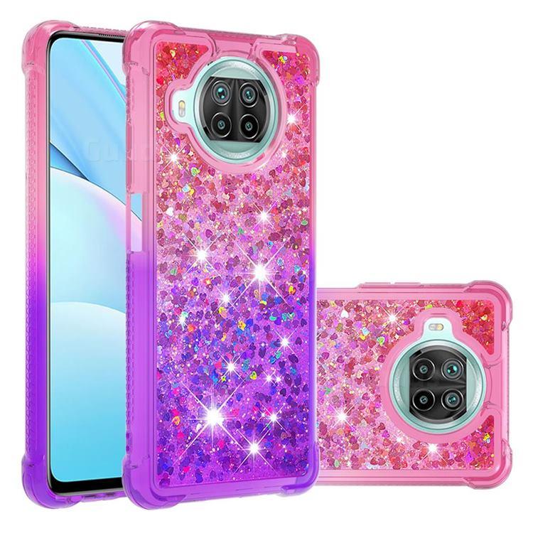 Rainbow Gradient Liquid Glitter Quicksand Sequins Phone Case for Xiaomi Mi 10T Lite 5G - Pink Purple