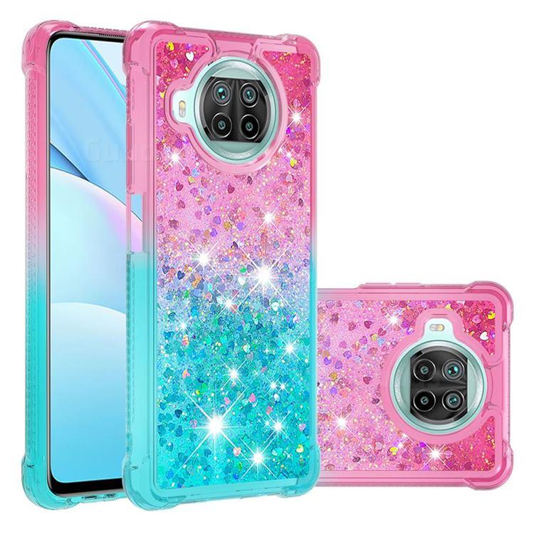 Rainbow Gradient Liquid Glitter Quicksand Sequins Phone Case for Xiaomi Mi 10T Lite 5G - Pink Blue
