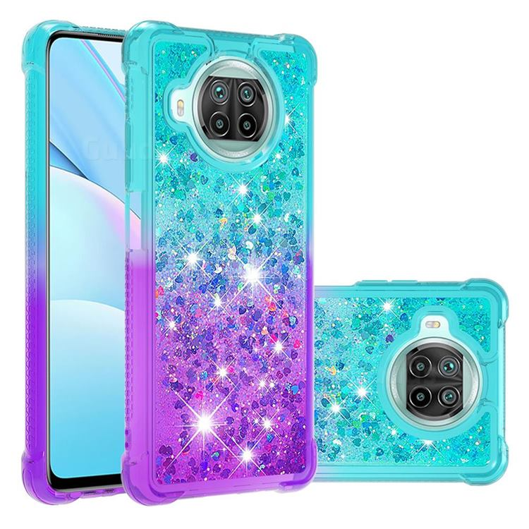 Rainbow Gradient Liquid Glitter Quicksand Sequins Phone Case for Xiaomi Mi 10T Lite 5G - Blue Purple