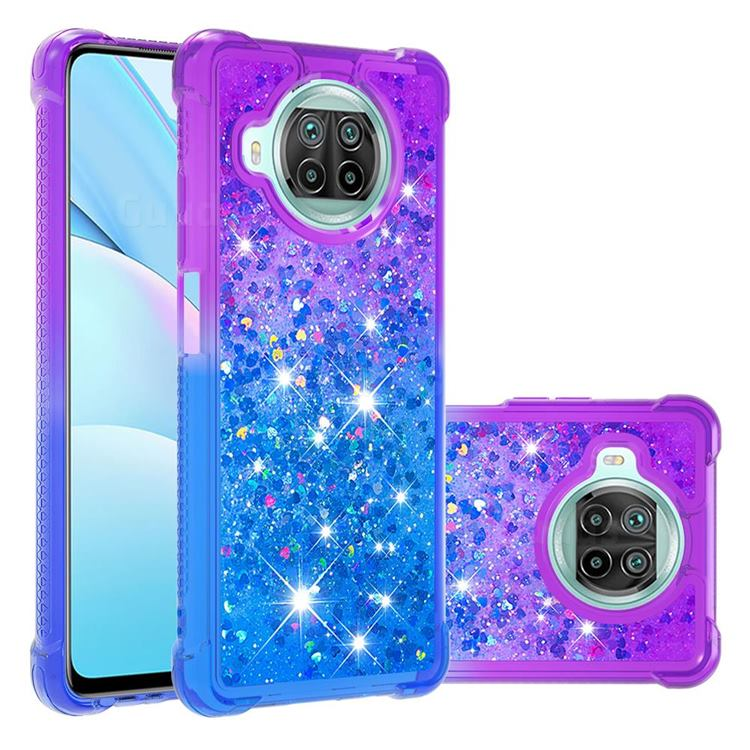 Rainbow Gradient Liquid Glitter Quicksand Sequins Phone Case for Xiaomi Mi 10T Lite 5G - Purple Blue