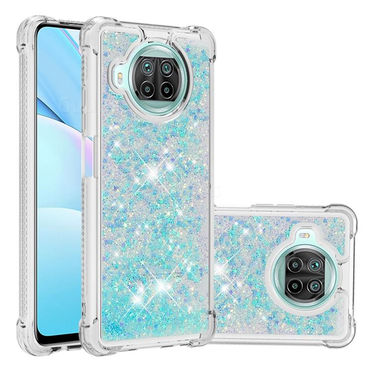 Dynamic Liquid Glitter Sand Quicksand TPU Case for Xiaomi Mi 10T Lite 5G - Silver Blue Star
