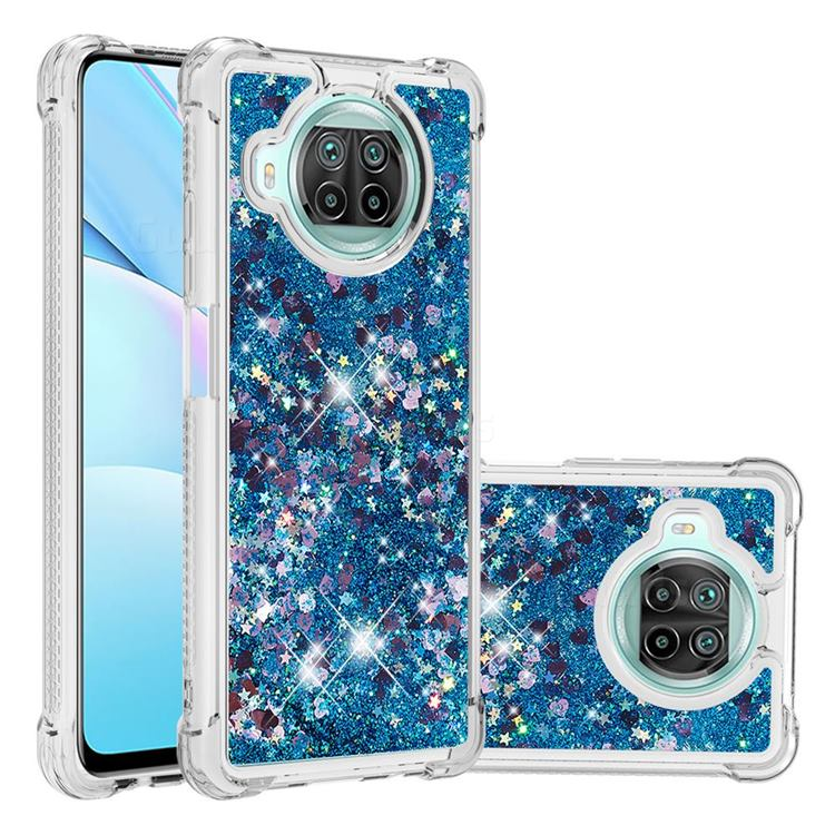 Dynamic Liquid Glitter Sand Quicksand TPU Case for Xiaomi Mi 10T Lite 5G - Blue Love Heart