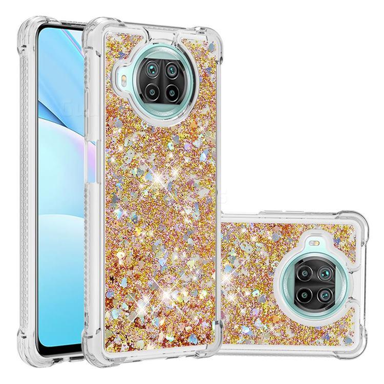 Dynamic Liquid Glitter Sand Quicksand TPU Case for Xiaomi Mi 10T Lite 5G - Rose Gold Love Heart