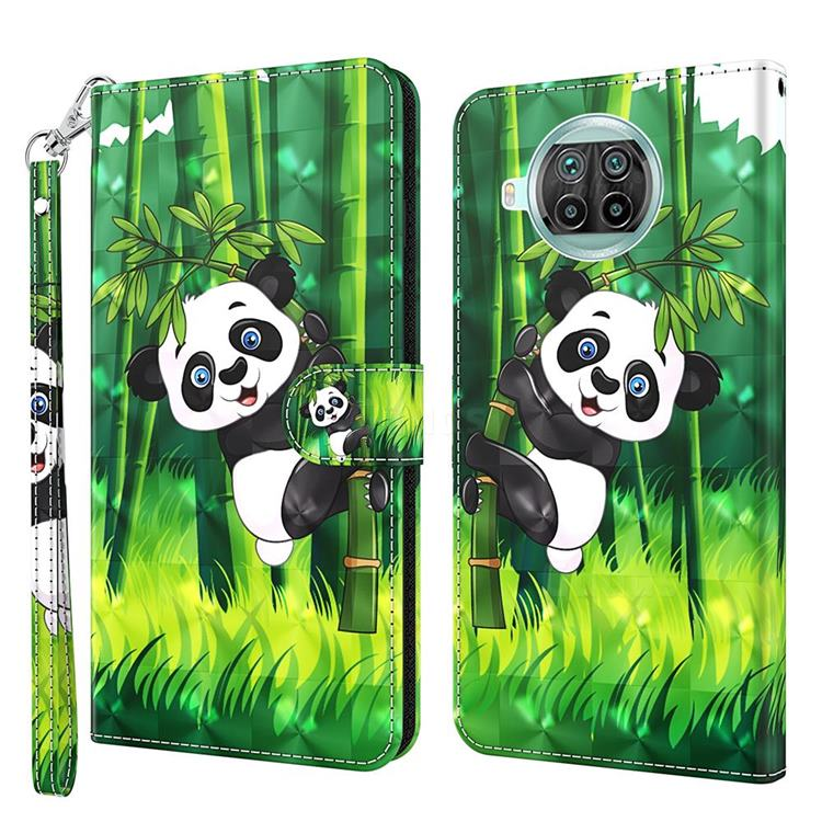Climbing Bamboo Panda 3D Painted Leather Wallet Case for Xiaomi Mi 10T Lite 5G
