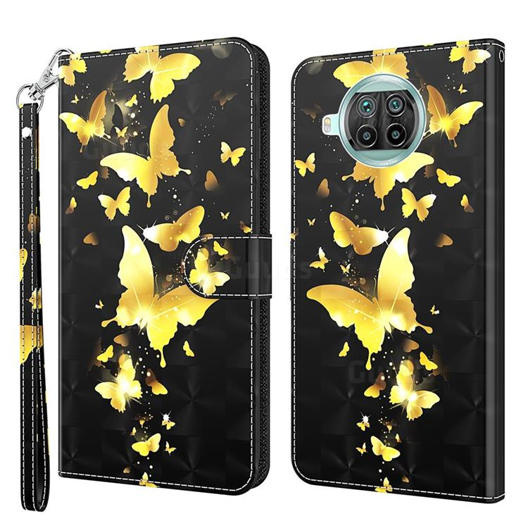 Golden Butterfly 3D Painted Leather Wallet Case for Xiaomi Mi 10T Lite 5G
