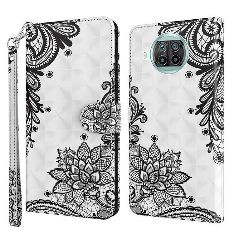 Black Lace Flower 3D Painted Leather Wallet Case for Xiaomi Mi 10T Lite 5G