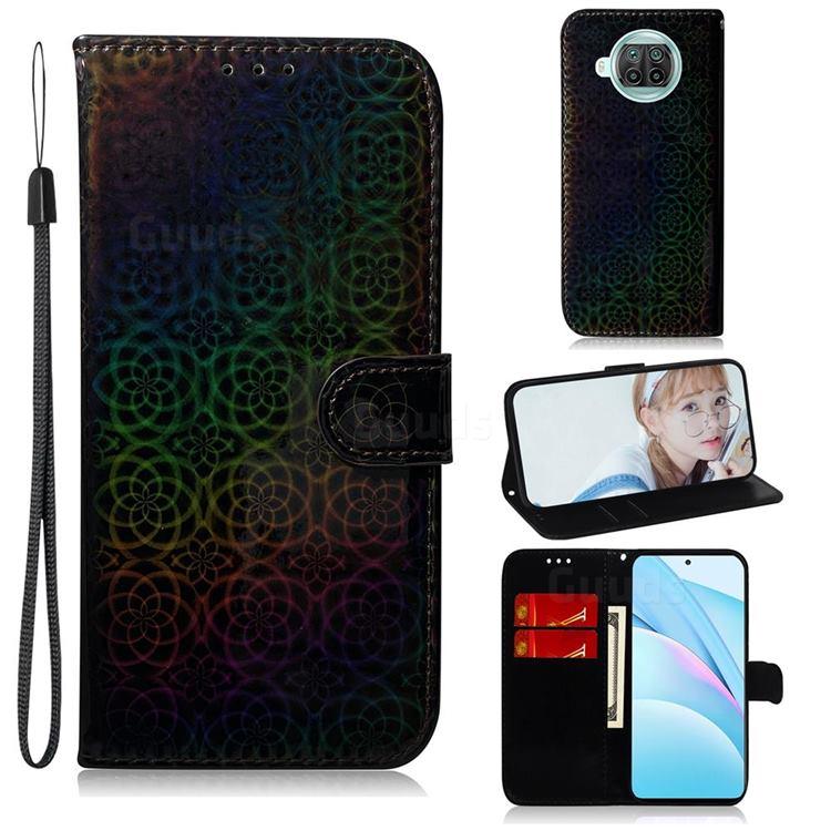 Laser Circle Shining Leather Wallet Phone Case for Xiaomi Mi 10T Lite 5G - Black