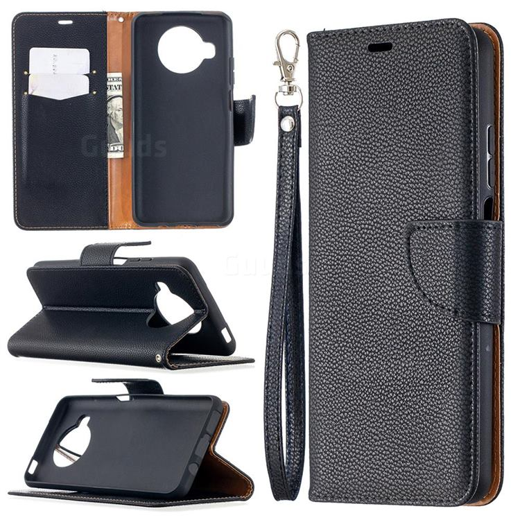 Classic Luxury Litchi Leather Phone Wallet Case for Xiaomi Mi 10T Lite 5G - Black