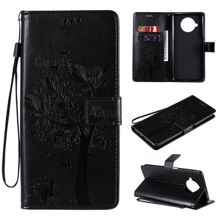 Embossing Butterfly Tree Leather Wallet Case for Xiaomi Mi 10T Lite 5G - Black