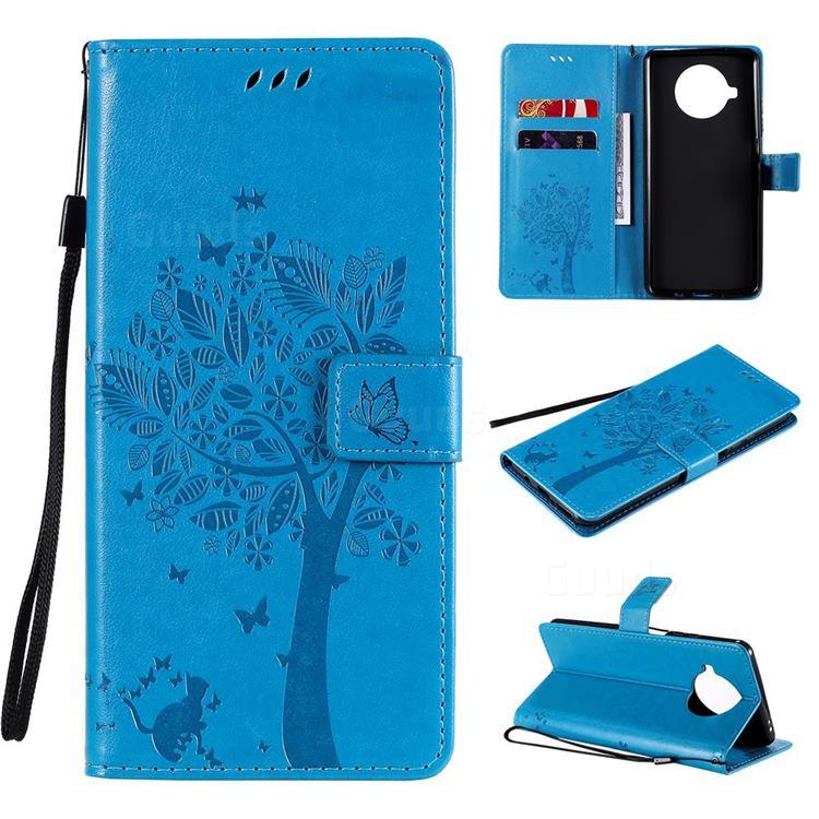 Embossing Butterfly Tree Leather Wallet Case for Xiaomi Mi 10T Lite 5G - Blue