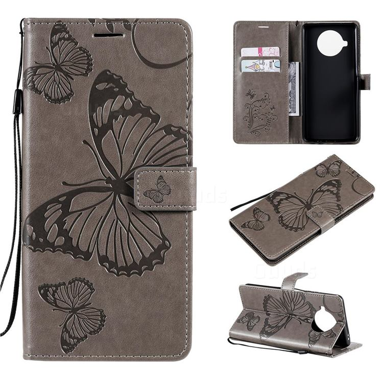 Embossing 3D Butterfly Leather Wallet Case for Xiaomi Mi 10T Lite 5G - Gray