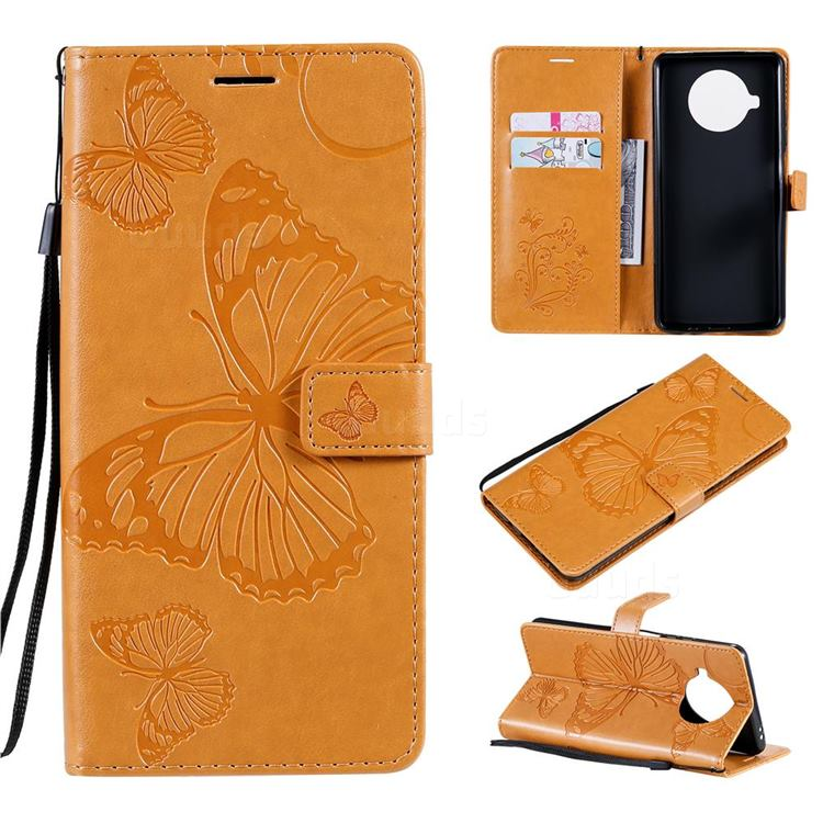 Embossing 3D Butterfly Leather Wallet Case for Xiaomi Mi 10T Lite 5G - Yellow