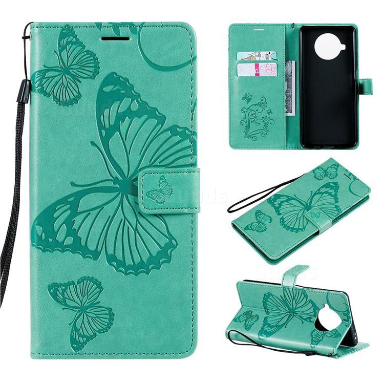 Embossing 3D Butterfly Leather Wallet Case for Xiaomi Mi 10T Lite 5G - Green