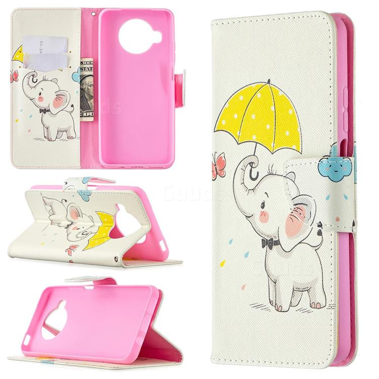 Umbrella Elephant Leather Wallet Case for Xiaomi Mi 10T Lite 5G