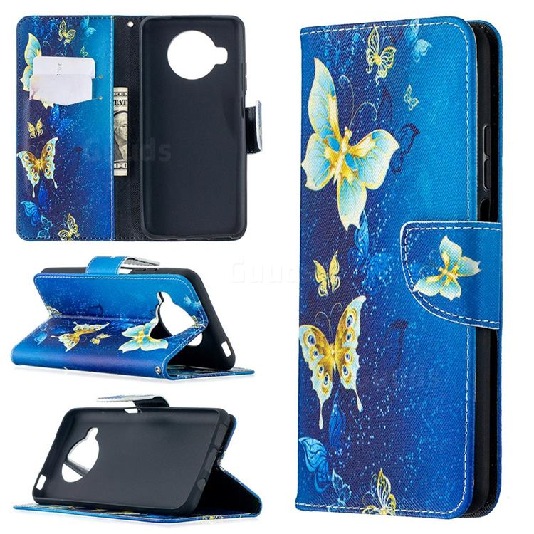Golden Butterflies Leather Wallet Case for Xiaomi Mi 10T Lite 5G