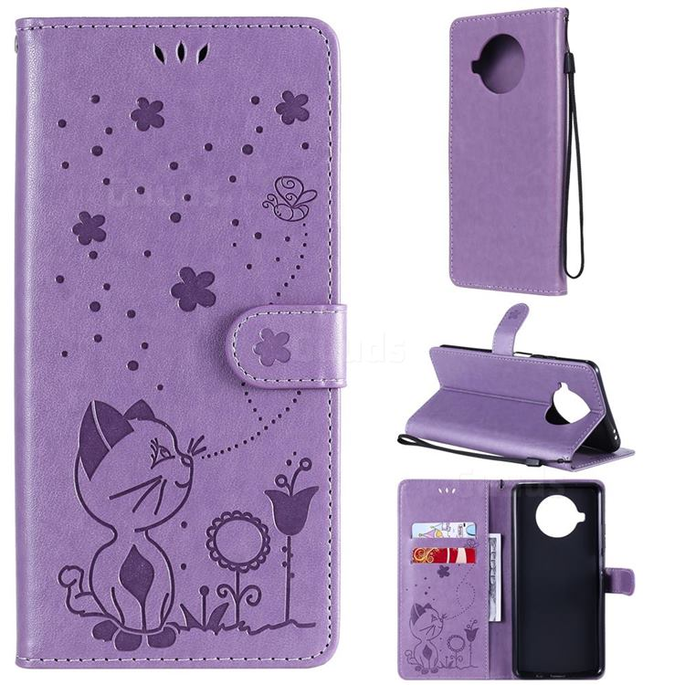 Embossing Bee and Cat Leather Wallet Case for Xiaomi Mi 10T Lite 5G - Purple