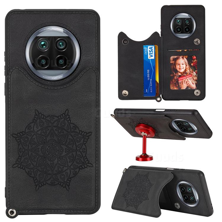 Luxury Mandala Multi-function Magnetic Card Slots Stand Leather Back Cover for Xiaomi Mi 10T Lite 5G - Black