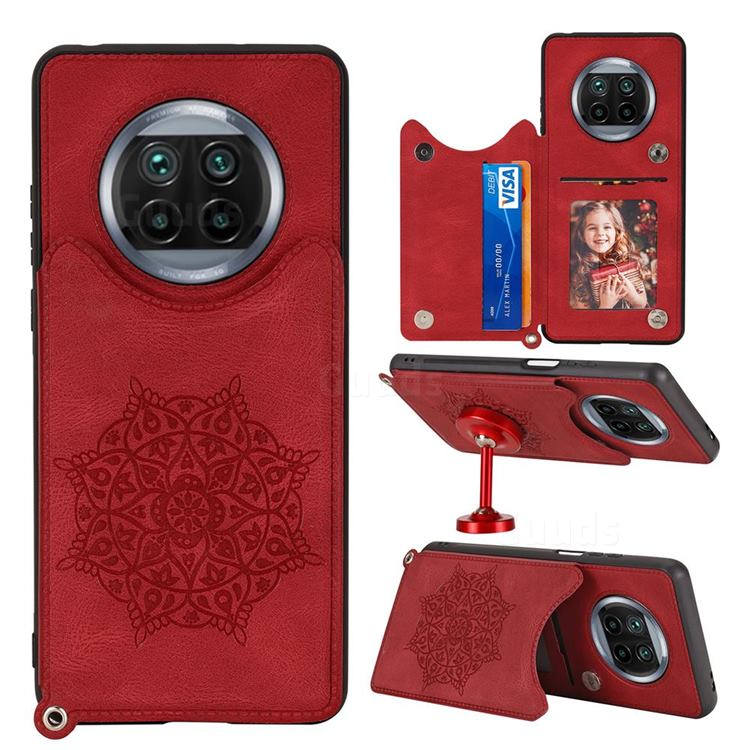 Luxury Mandala Multi-function Magnetic Card Slots Stand Leather Back Cover for Xiaomi Mi 10T Lite 5G - Red