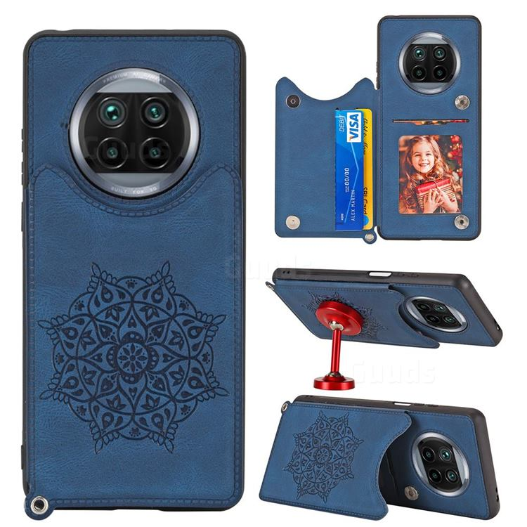 Luxury Mandala Multi-function Magnetic Card Slots Stand Leather Back Cover for Xiaomi Mi 10T Lite 5G - Blue