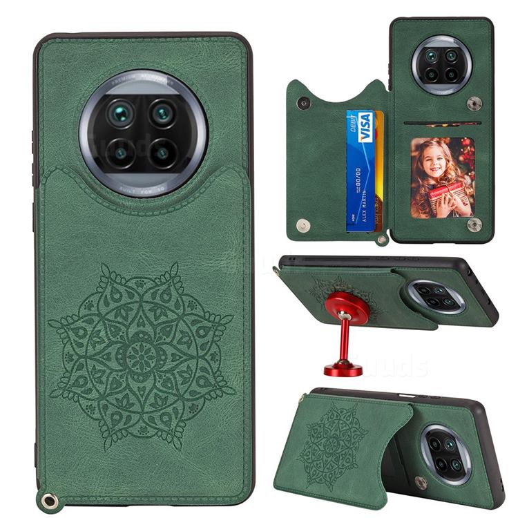 Luxury Mandala Multi-function Magnetic Card Slots Stand Leather Back Cover for Xiaomi Mi 10T Lite 5G - Green