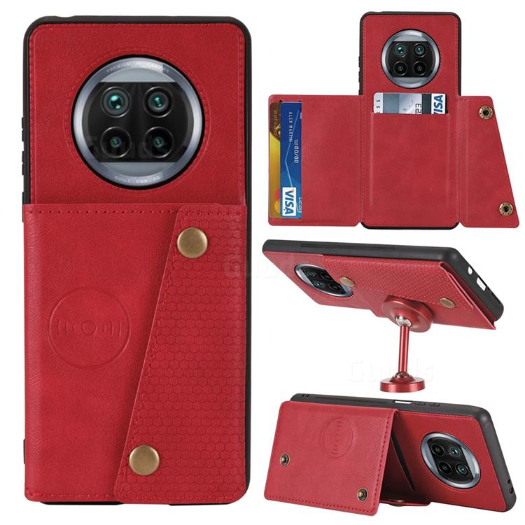 Retro Multifunction Card Slots Stand Leather Coated Phone Back Cover for Xiaomi Mi 10T Lite 5G - Red