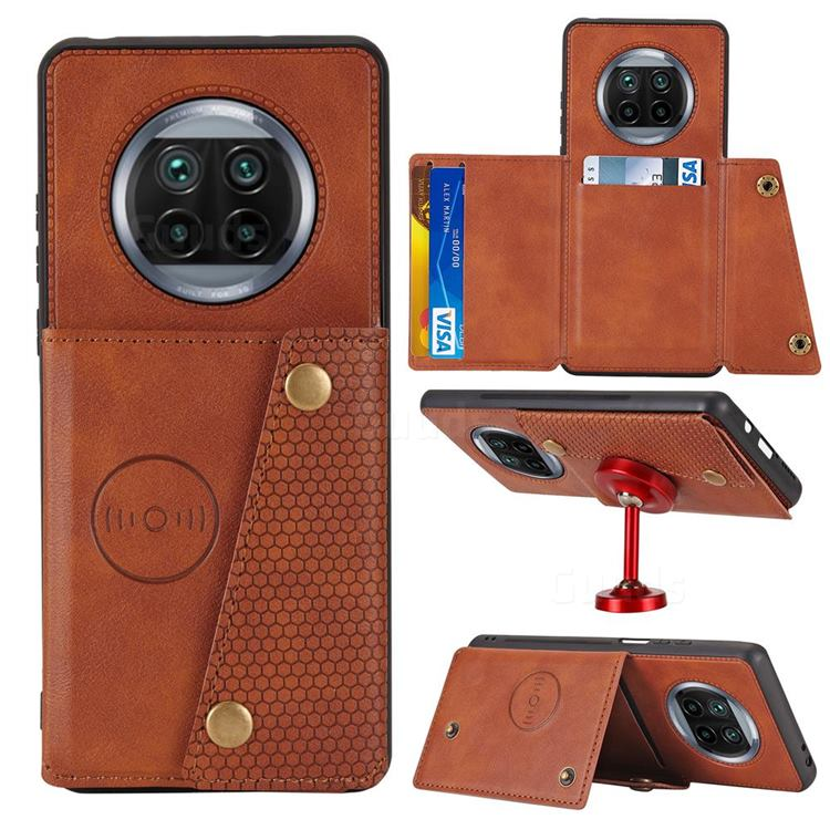 Retro Multifunction Card Slots Stand Leather Coated Phone Back Cover for Xiaomi Mi 10T Lite 5G - Brown
