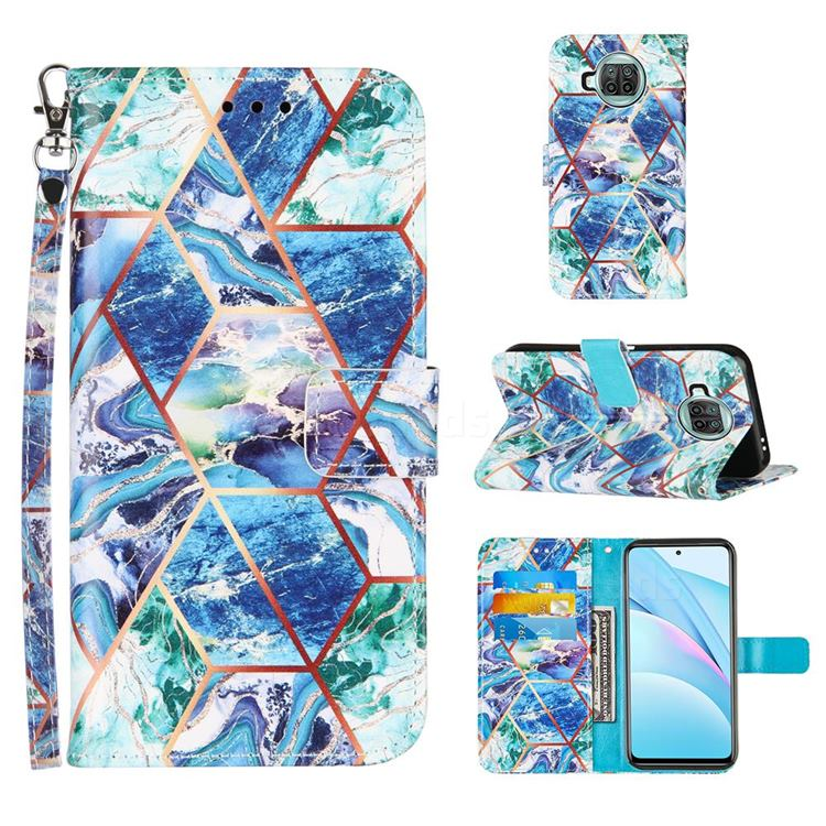 Green and Blue Stitching Color Marble Leather Wallet Case for Xiaomi Mi 10T Lite 5G