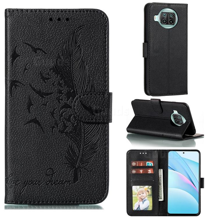 Intricate Embossing Lychee Feather Bird Leather Wallet Case for Xiaomi Mi 10T Lite 5G - Black