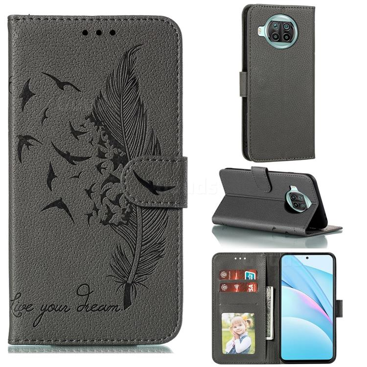 Intricate Embossing Lychee Feather Bird Leather Wallet Case for Xiaomi Mi 10T Lite 5G - Gray