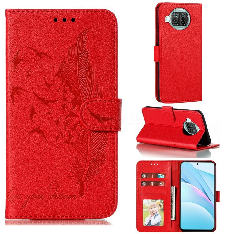 Intricate Embossing Lychee Feather Bird Leather Wallet Case for Xiaomi Mi 10T Lite 5G - Red