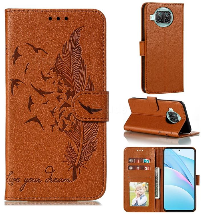 Intricate Embossing Lychee Feather Bird Leather Wallet Case for Xiaomi Mi 10T Lite 5G - Brown