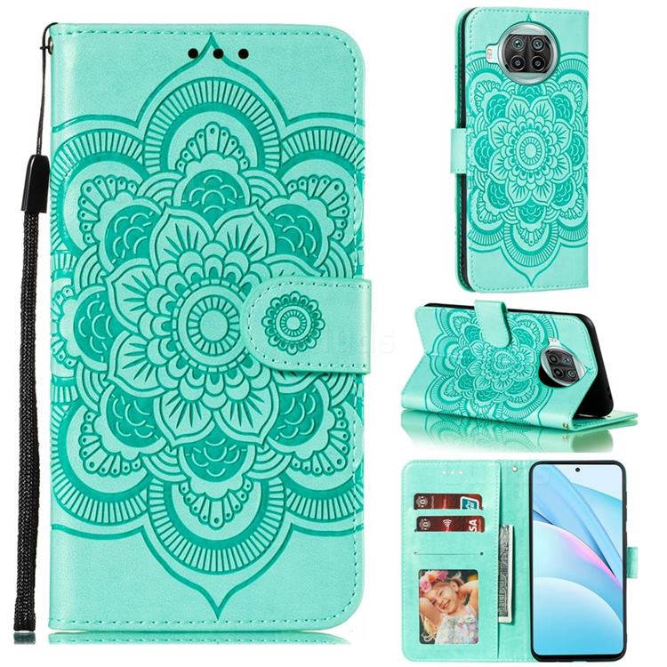 Intricate Embossing Datura Solar Leather Wallet Case for Xiaomi Mi 10T Lite 5G - Green